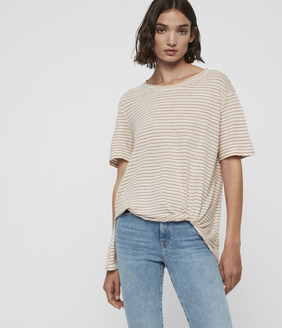 Damen Wilma Stripe T-Shirt (ecru_white_orange) - Image 1