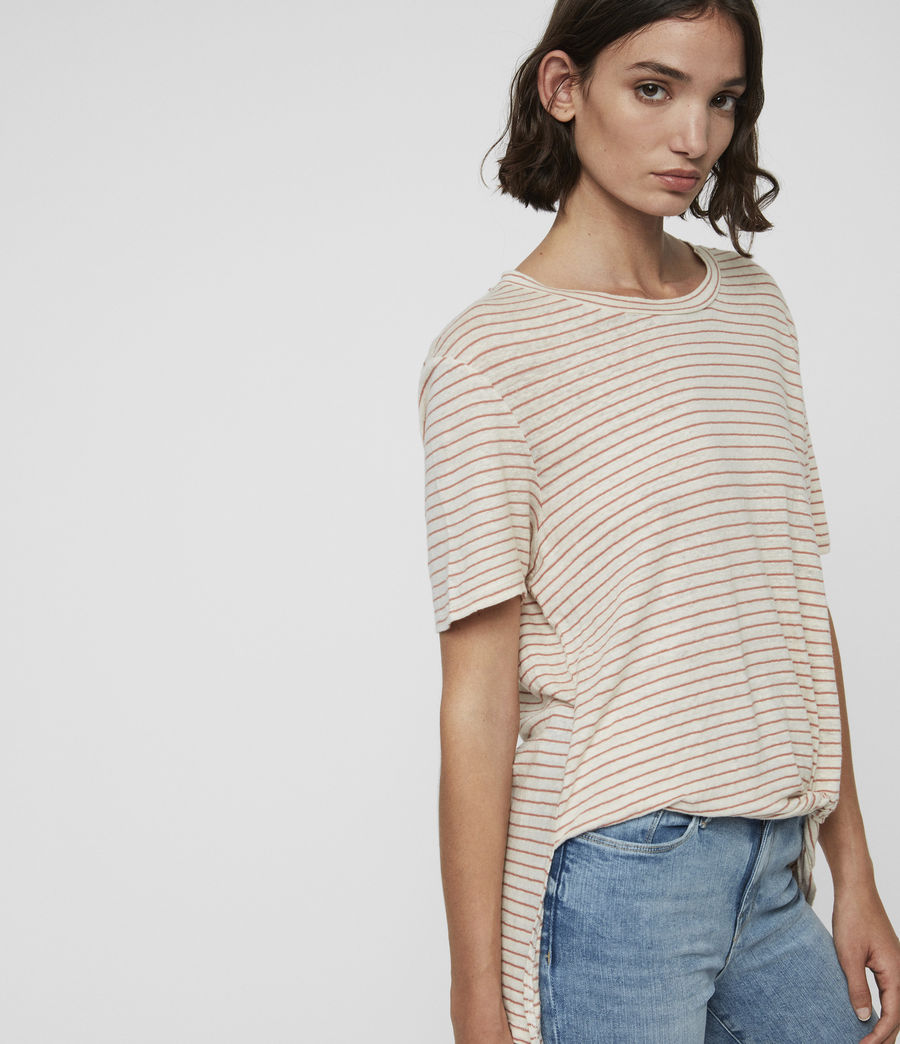 Damen Wilma Stripe T-Shirt (ecru_white_orange) - Image 2