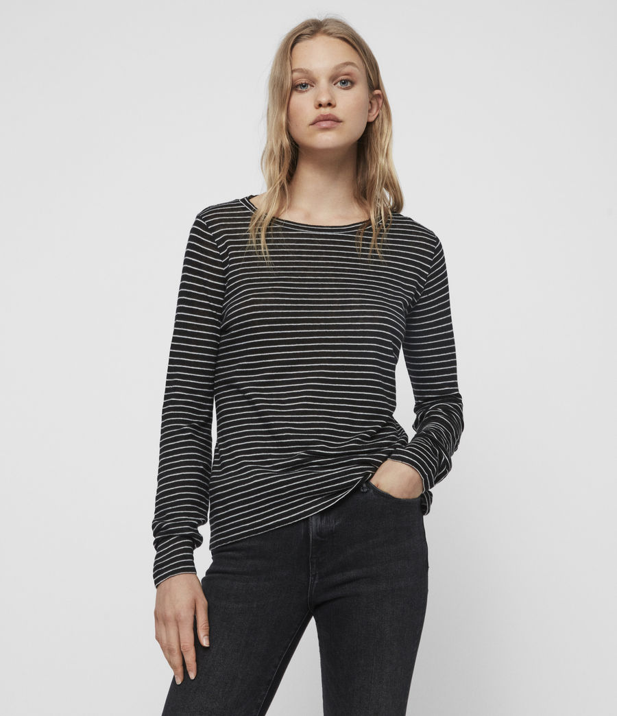 Femmes T-Shirt Manches Longues Esme (black_ecru_white) - Image 1