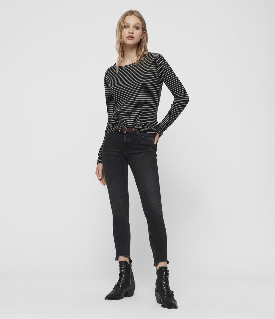 Womens Esme Stripe T-Shirt (black_ecru_white) - Image 2