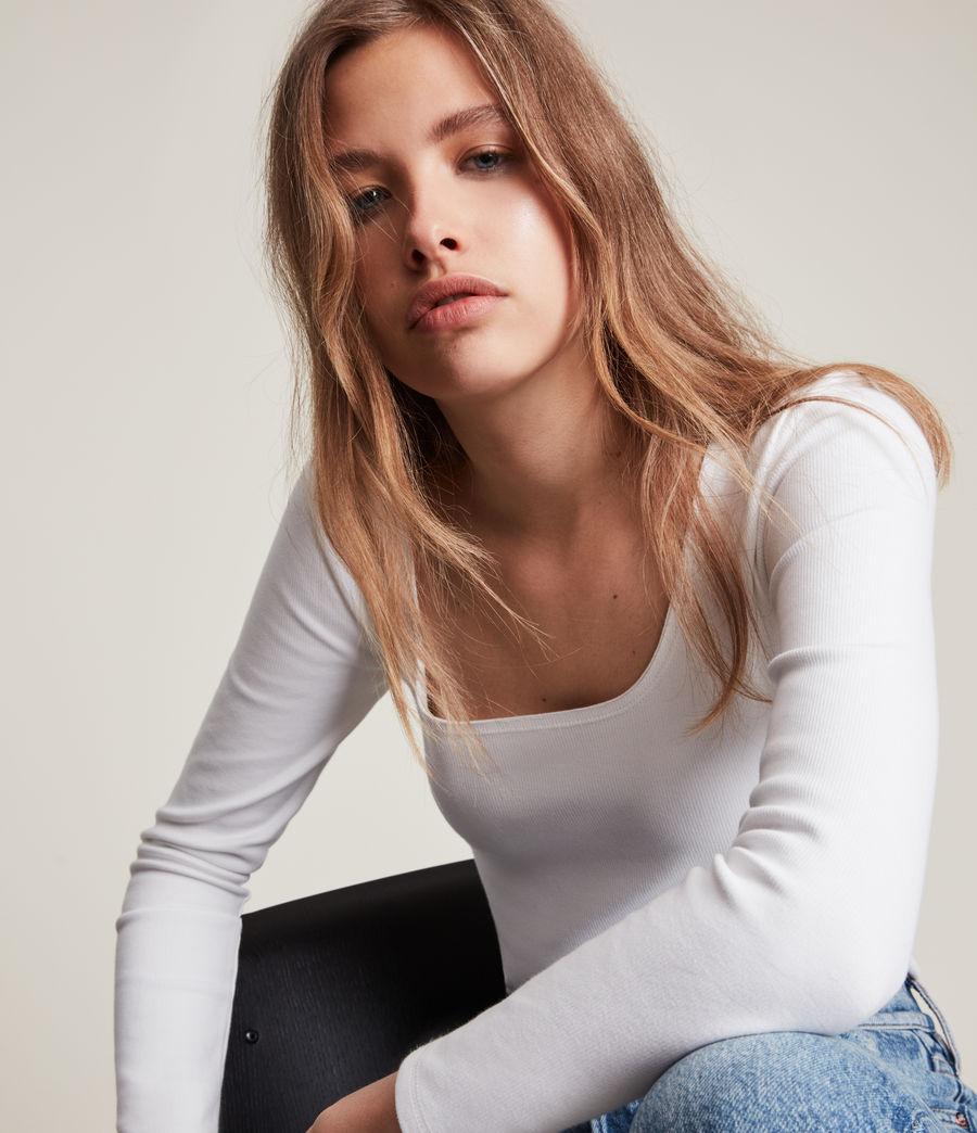 Women's Jamie Long Sleeve Bodysuit (optic_white) - Image 2
