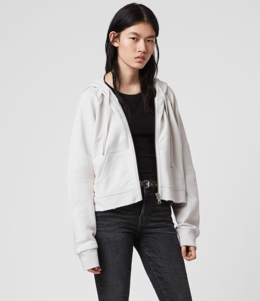 Donne Felpa Jessi Biker - Corta in cotone con cappuccio e zip (ivory_white) - Image 4