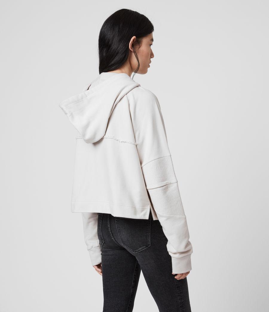 Donne Felpa Jessi Biker - Corta in cotone con cappuccio e zip (ivory_white) - Image 5