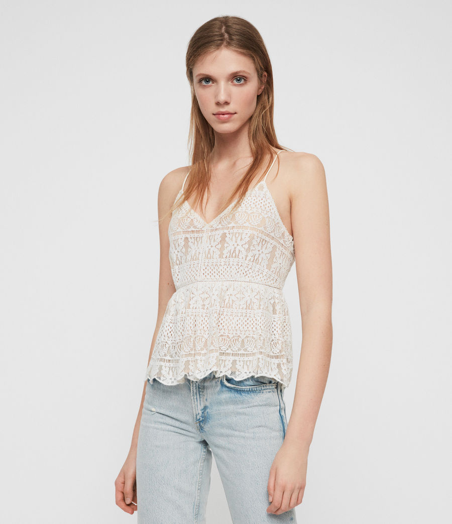 Women's Natalia Lace Top (oyster_white) - Image 1