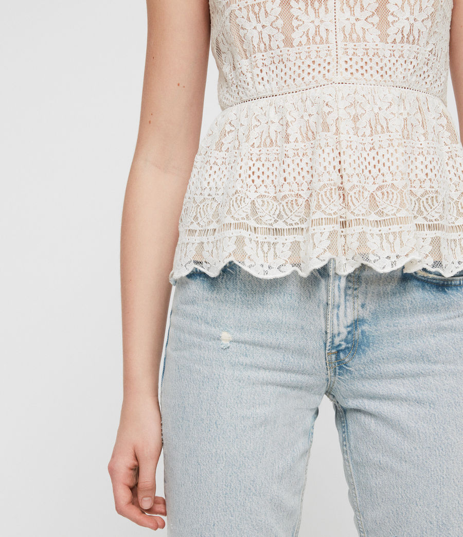 Women's Natalia Lace Top (oyster_white) - Image 3