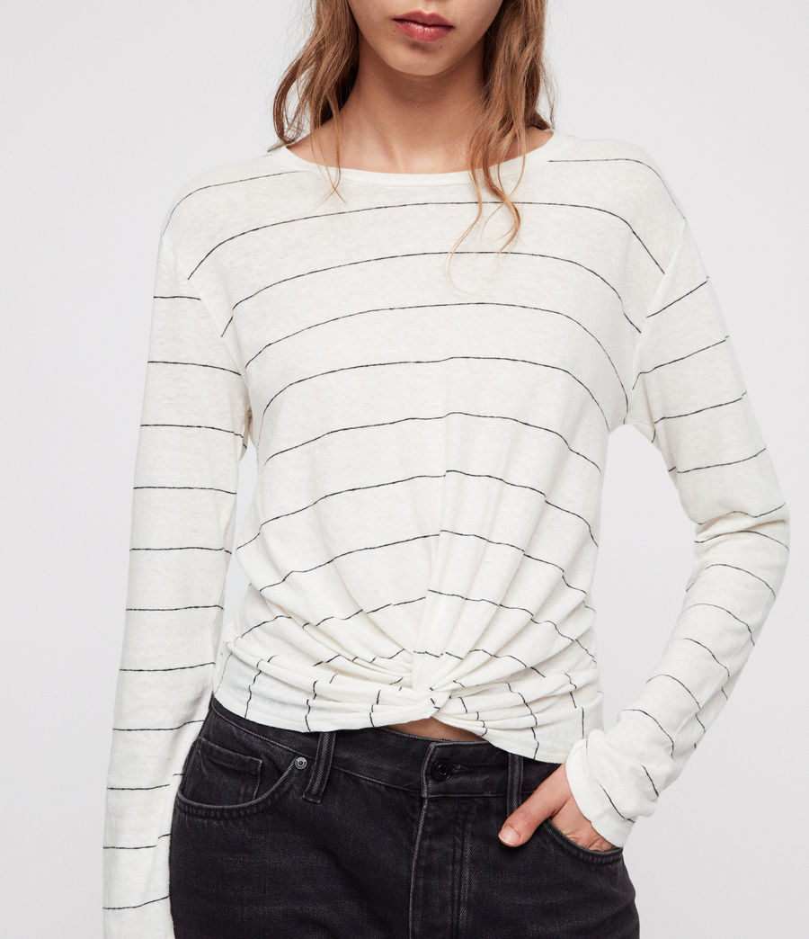 Womens Carme Stripe T-Shirt (chalk_white_black) - Image 3