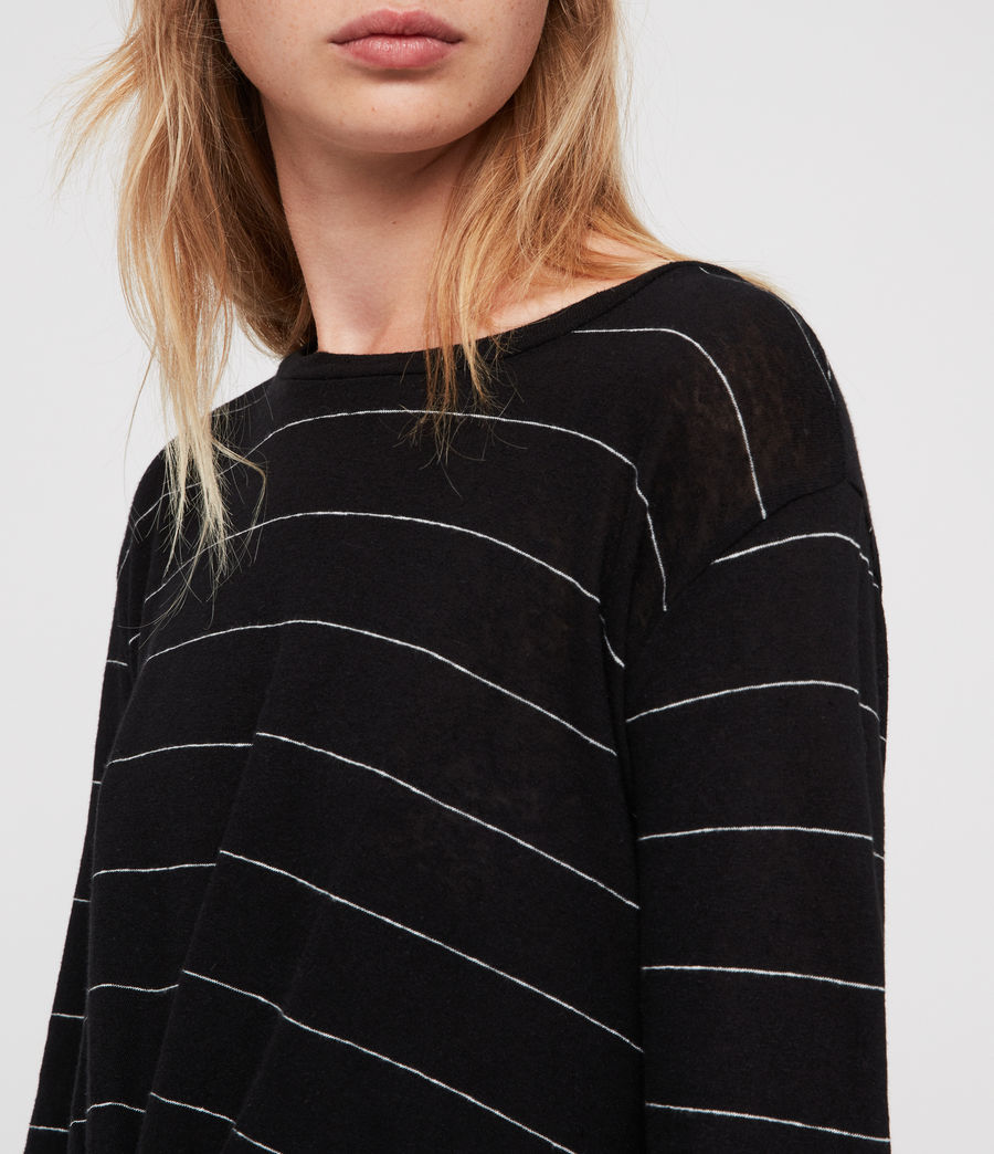 Donne Carme Stripe T-Shirt (black_chalk_white) - Image 2