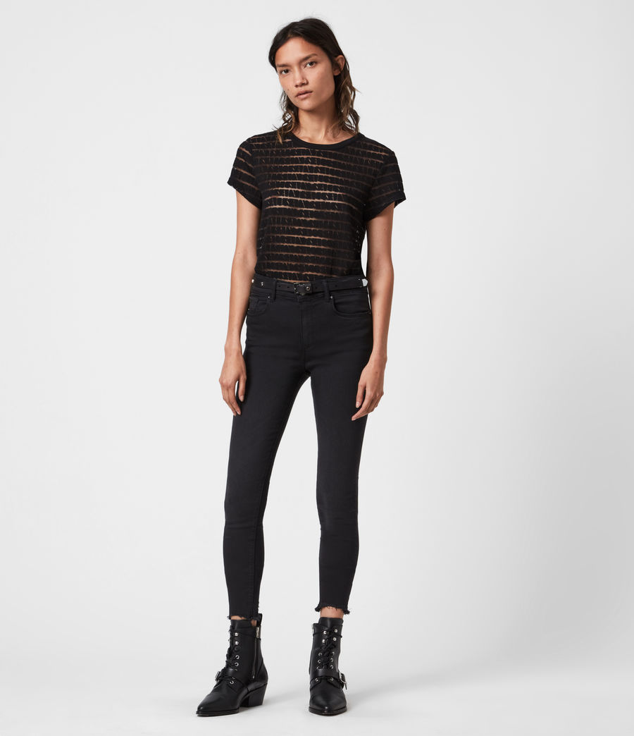 Women's Bela Stripe T-Shirt (black) - Image 4