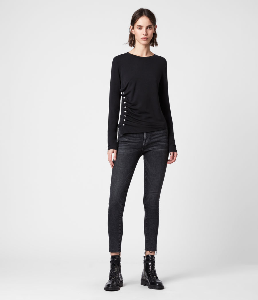 Damen Hatti Long Sleeve T-Shirt (black) - Image 3