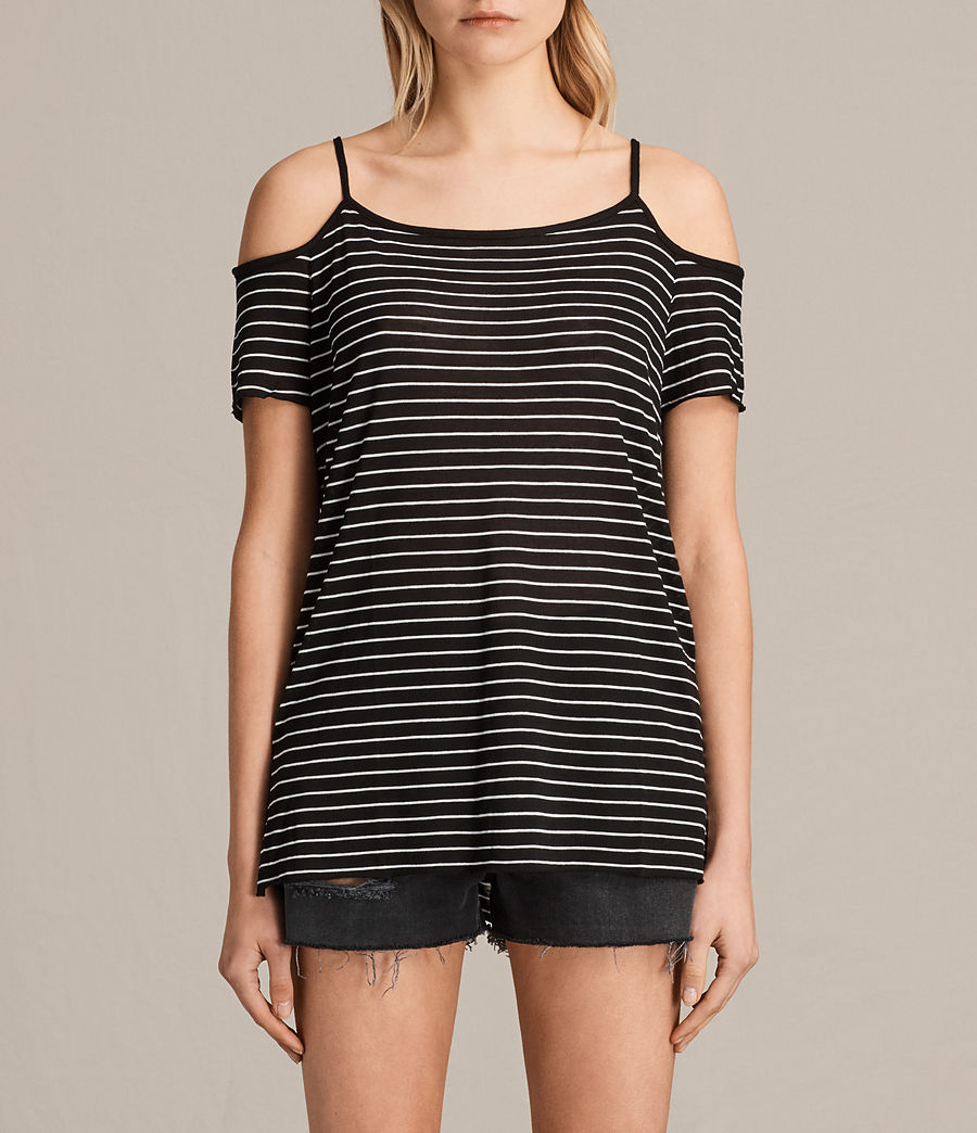 Womens Tyra Stripe Top (black_oyster_white) - Image 1