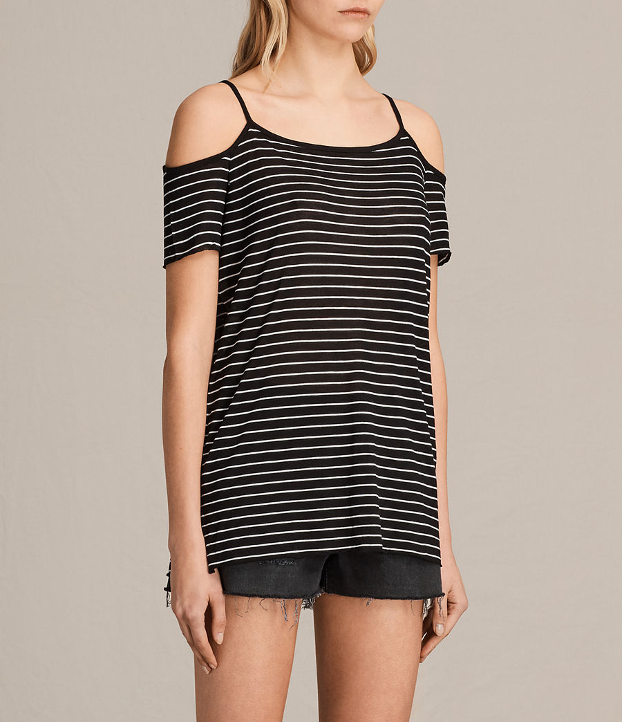 Womens Tyra Stripe Top (black_oyster_white) - Image 2