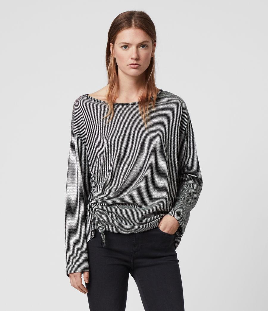 Women's Ryder Lin Stripe Long Sleeve T-Shirt (black_chalk_white) - Image 1