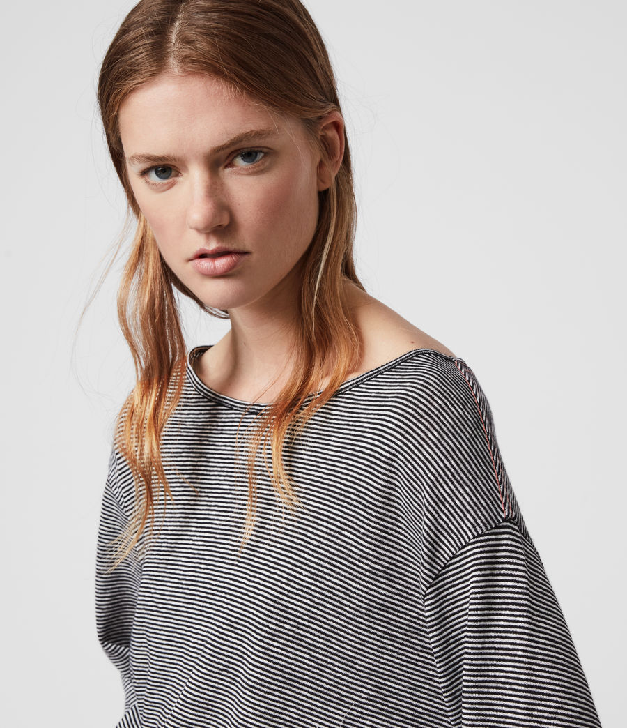 Womens Ryder Lin Stripe Long Sleeve T-Shirt (black_chalk_white) - Image 1
