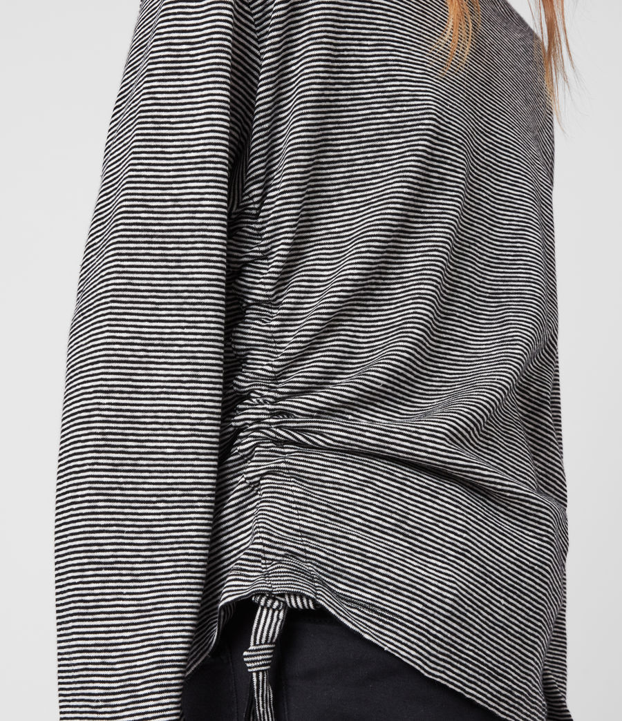 Womens Ryder Lin Stripe Long Sleeve T-Shirt (black_chalk_white) - Image 2