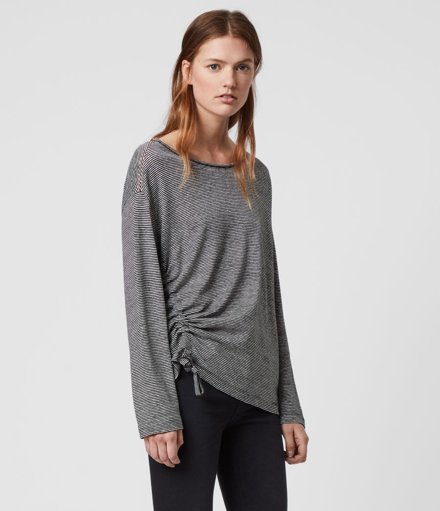 Womens Ryder Lin Stripe Long Sleeve T-Shirt (black_chalk_white) - Image 3