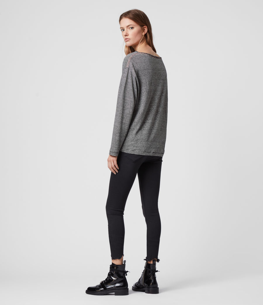 Womens Ryder Lin Stripe Long Sleeve T-Shirt (black_chalk_white) - Image 4