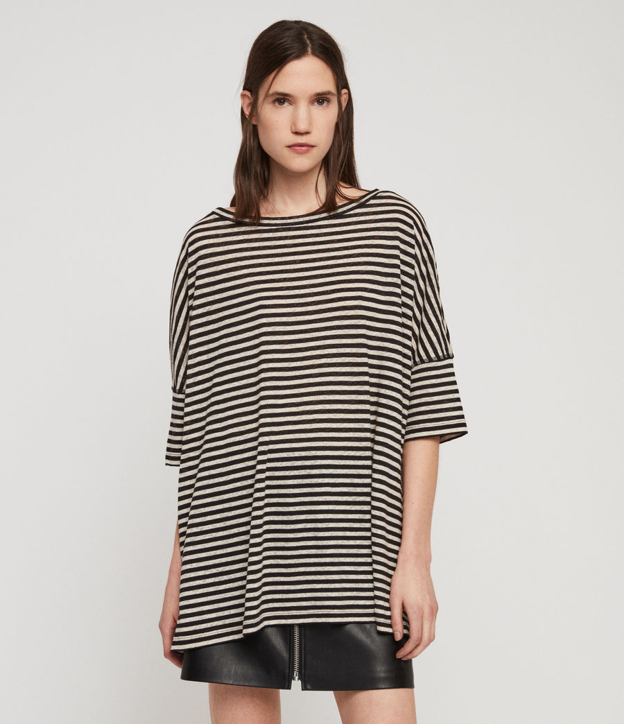 Women's Plira Stripe T-Shirt (chalk_ink_blue) - Image 4