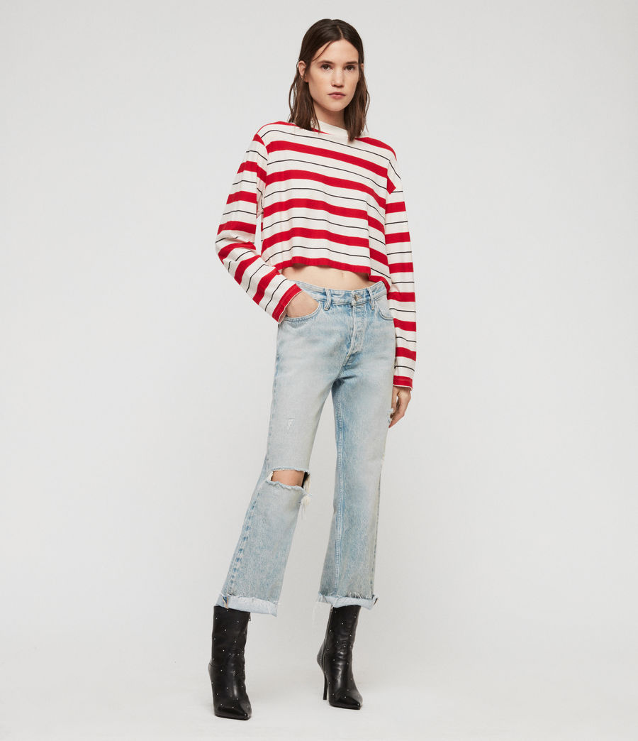 Damen Benno Stripe Langarmtop (red_chalk_black) - Image 1