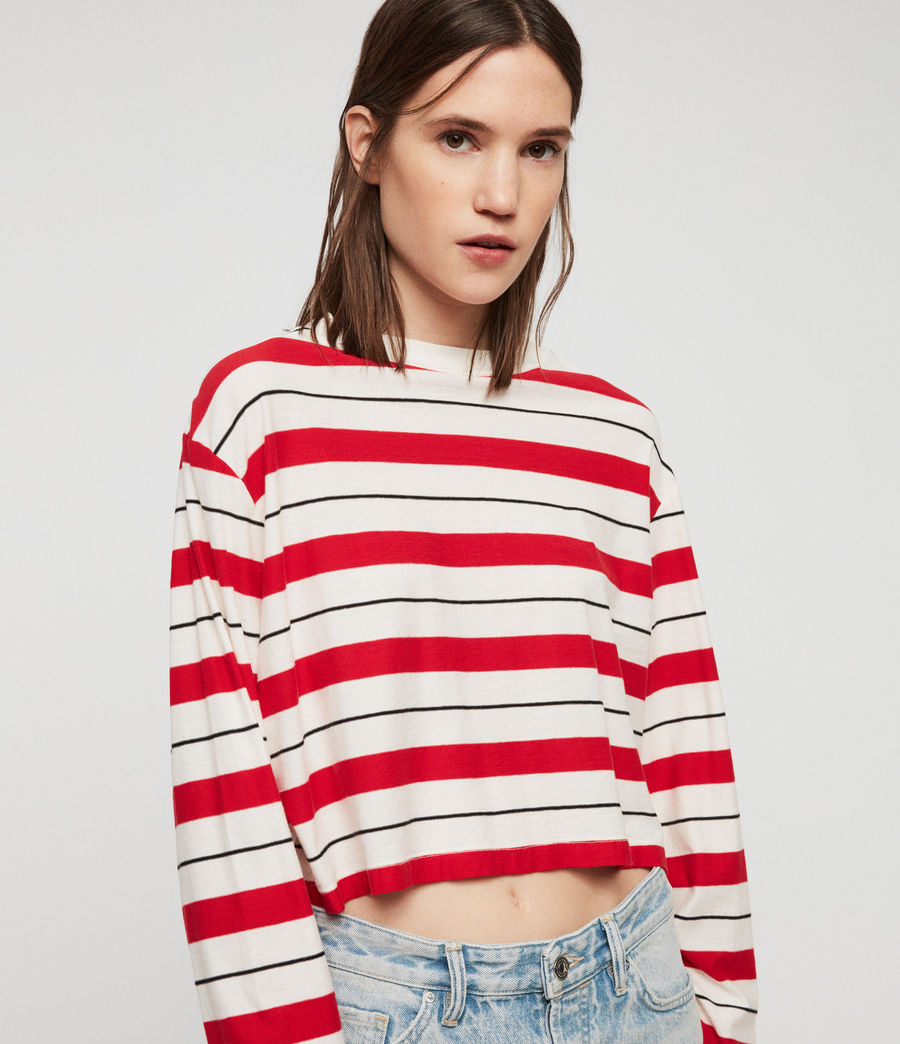 Damen Benno Stripe Langarmtop (red_chalk_black) - Image 2