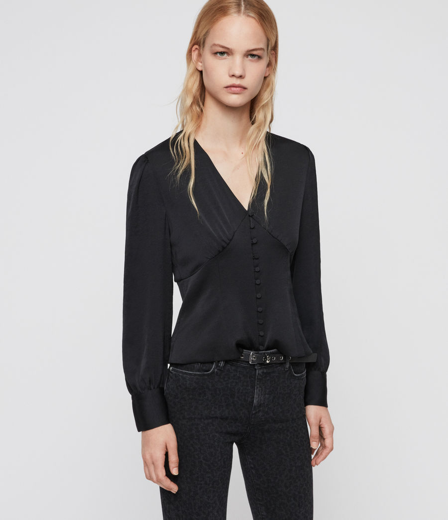 Women's Amalie Satin Top (black) - Image 1