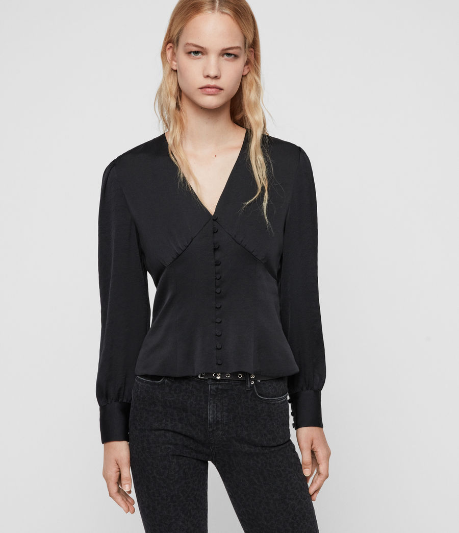 Women's Amalie Satin Top (black) - Image 4