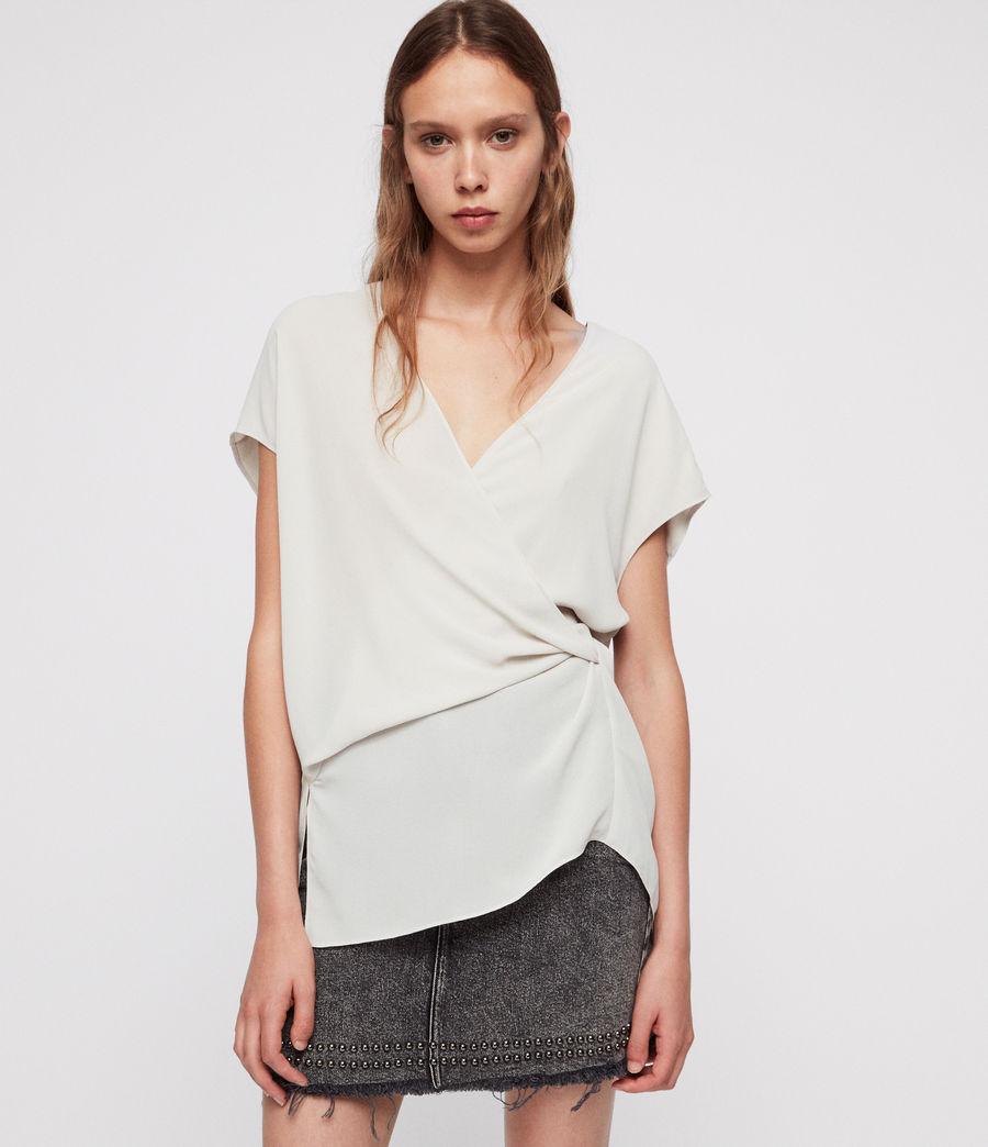 Donne Top Mia - A portafoglio con taglio asimmetrico (stone_white) - Image 1