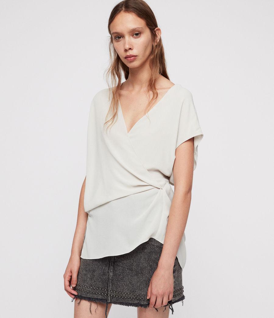 Donne Top Mia - A portafoglio con taglio asimmetrico (stone_white) - Image 3