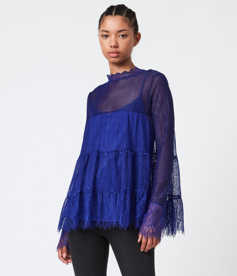 Womens Briella Lace Top (cobalt_blue) - Image 1