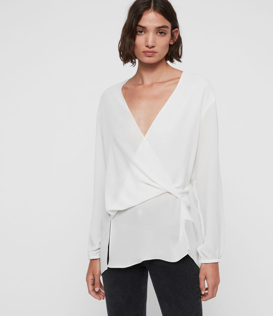 Womens Mia Sleeve Top (chalk_white) - Image 1