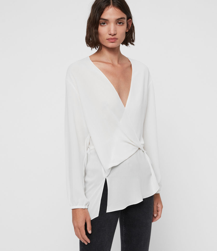 Womens Mia Sleeve Top (chalk_white) - Image 4