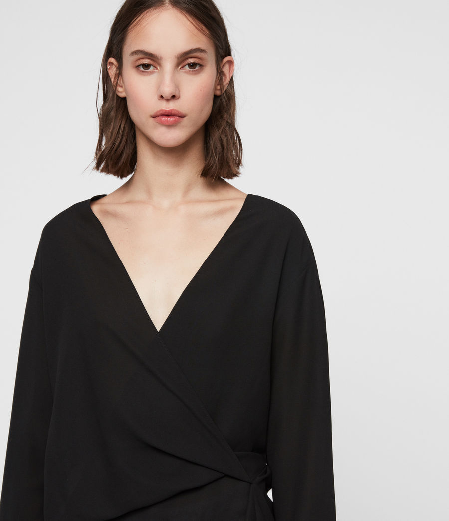 Women's Mia Sleeve Top (black) - Image 2