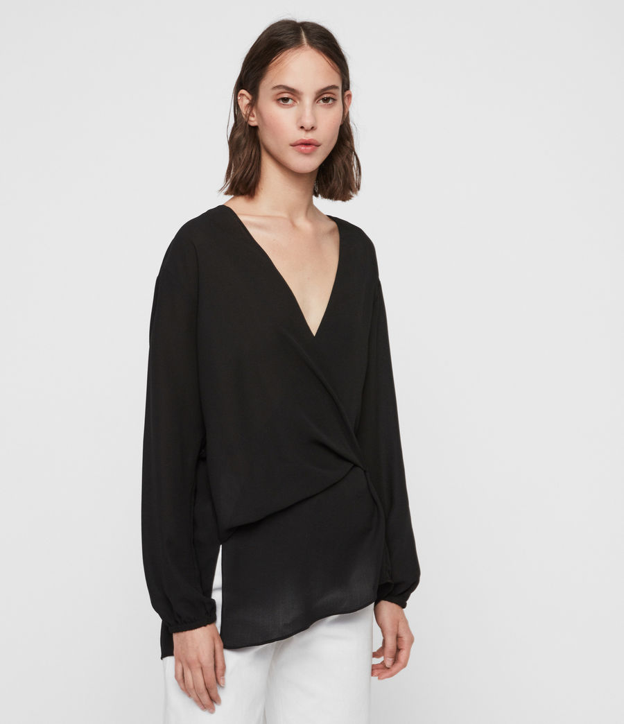 Womens Mia Sleeve Top (black) - Image 3