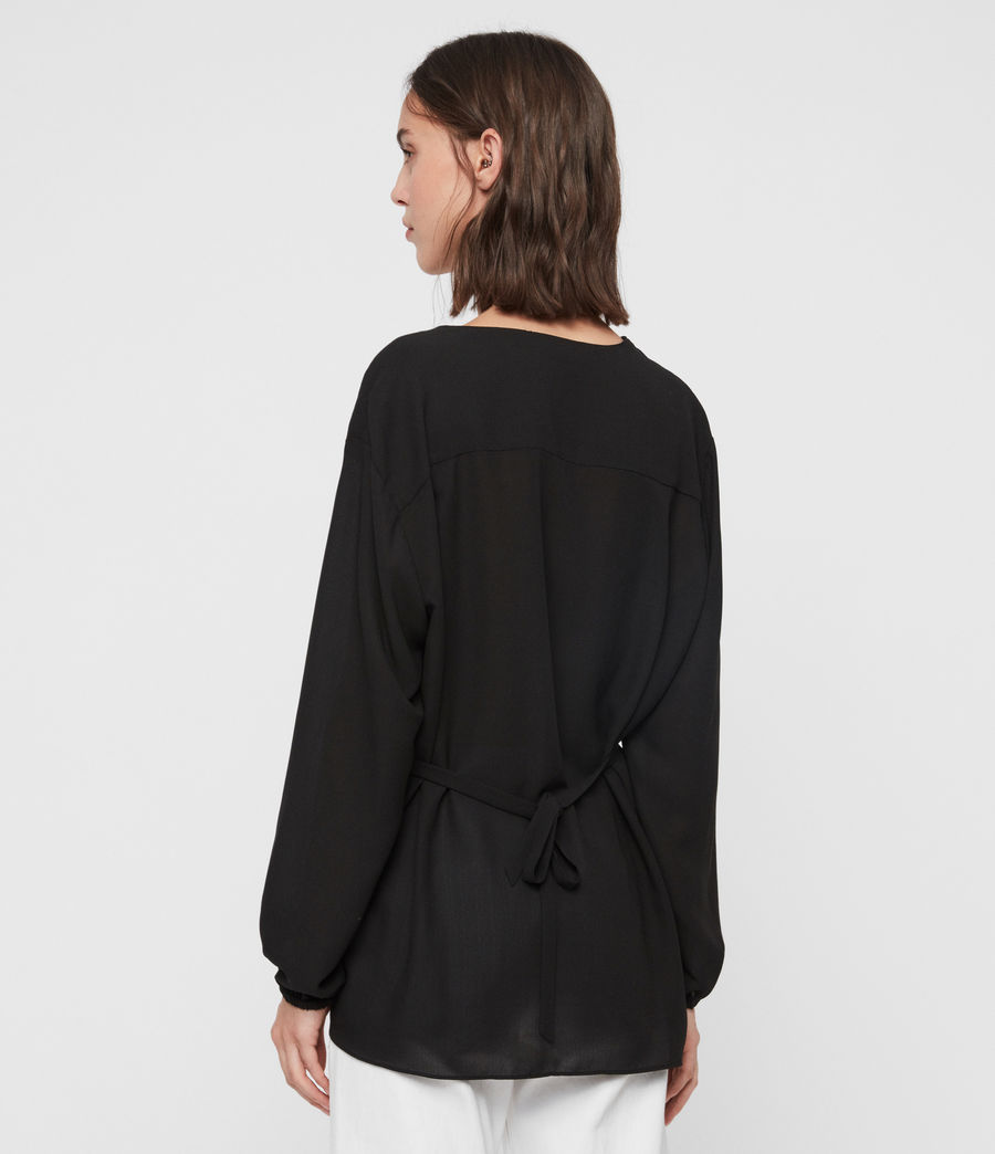 Womens Mia Sleeve Top (black) - Image 4