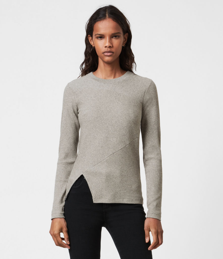 Women's Gia Long Sleeve T-Shirt (grey_marl) - Image 1