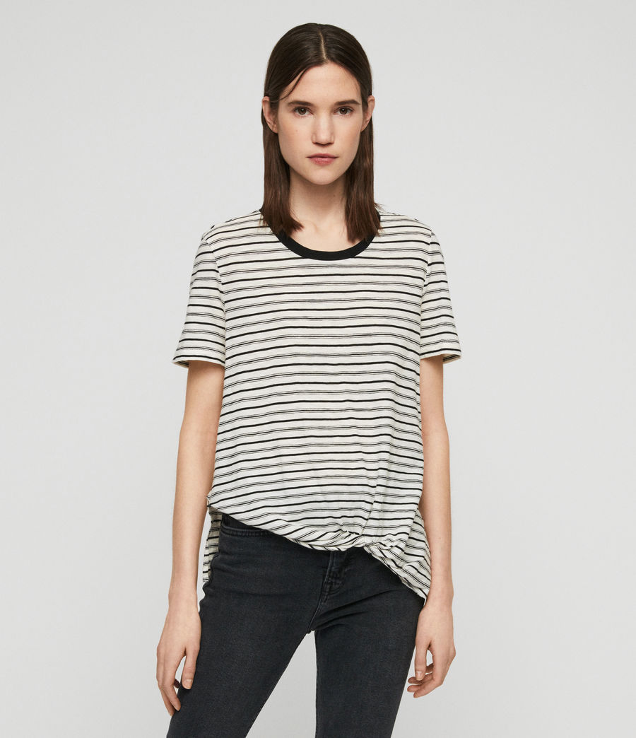 Womens Wilma Stripe T-Shirt (ecru_black) - Image 1