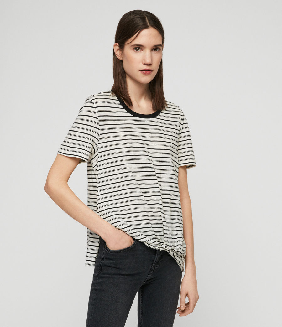 Womens Wilma Stripe T-Shirt (ecru_black) - Image 2