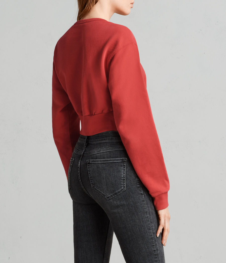 Womens Paloma Cropped Sweatshirt (poppy_red) - Image 3