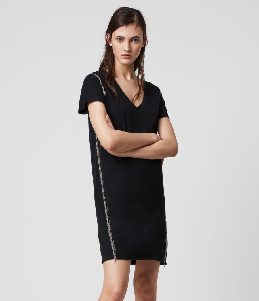 Mujer Emelyn Chain Tee Dress (black) - Image 1