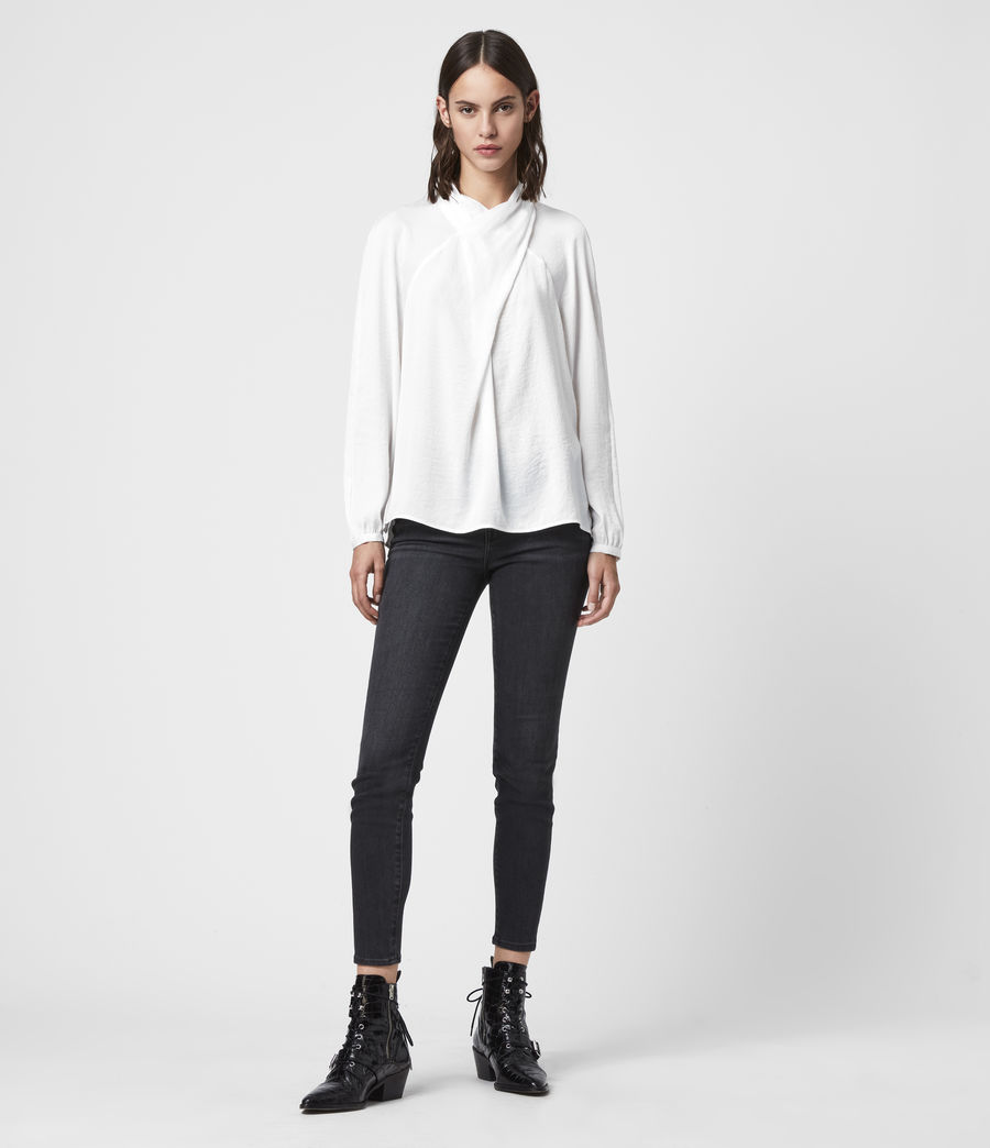 Donne Blusa Zola - Effetto raso con collo incrociato (ivory_white) - Image 3