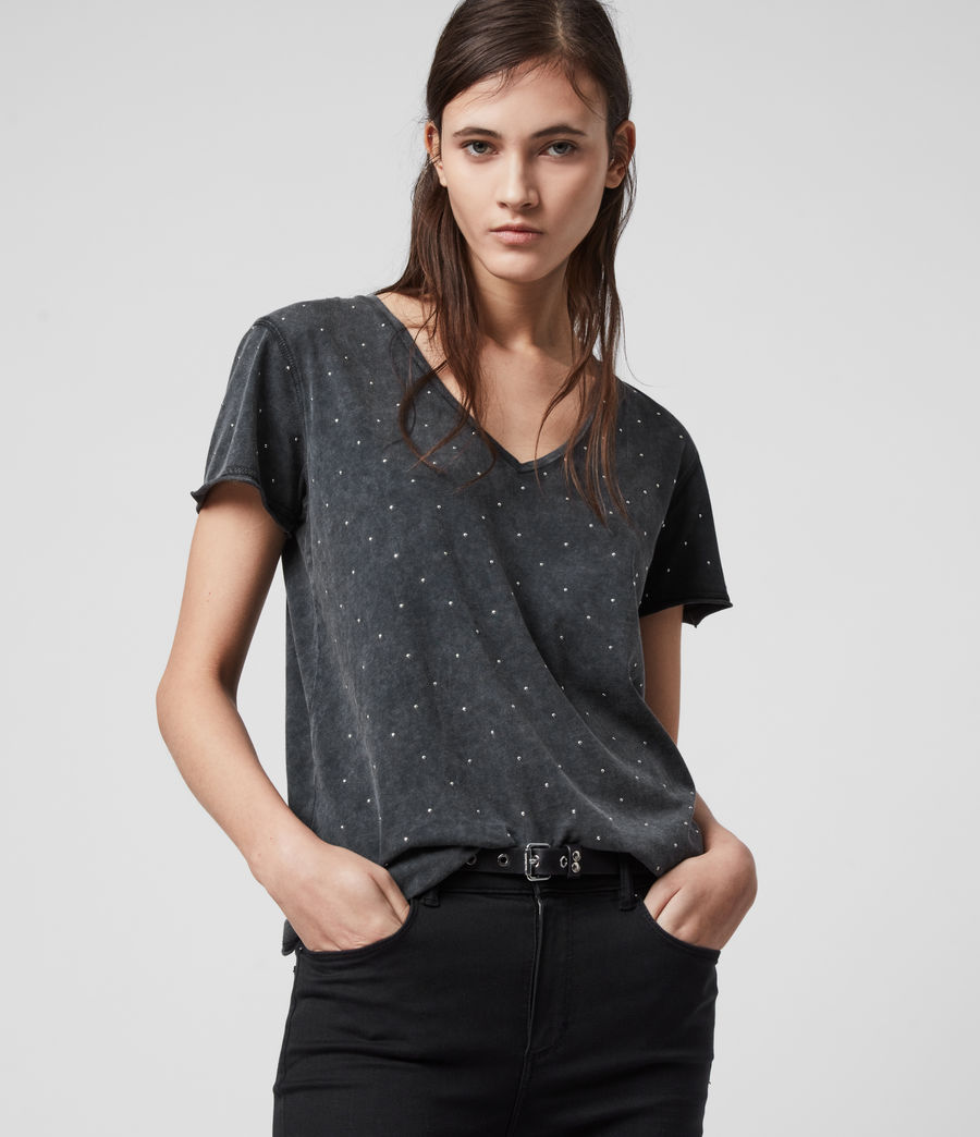 Womens Emelyn Stud T-Shirt (acid_washed_black) - Image 1