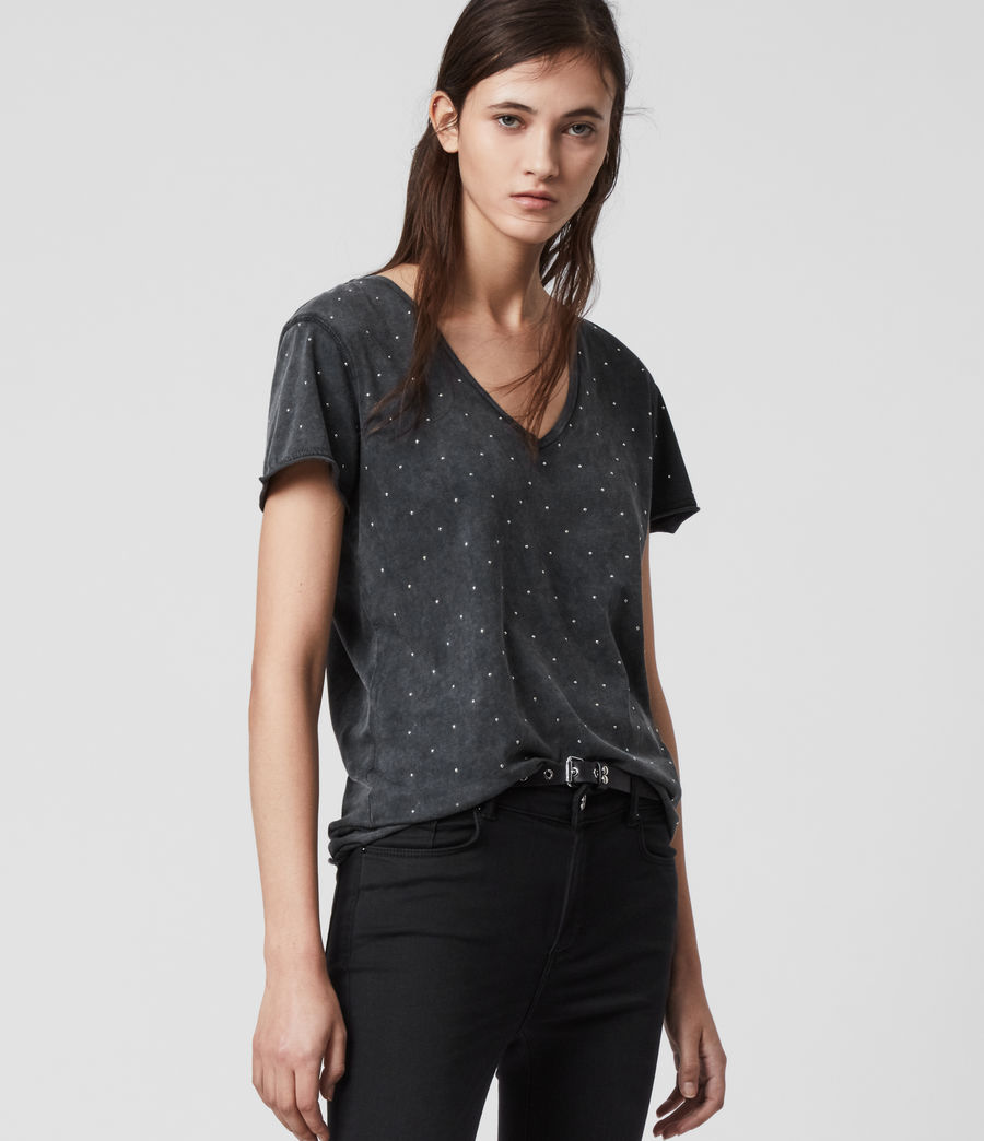 Mujer Emelyn Stud T-Shirt (acid_washed_black) - Image 4