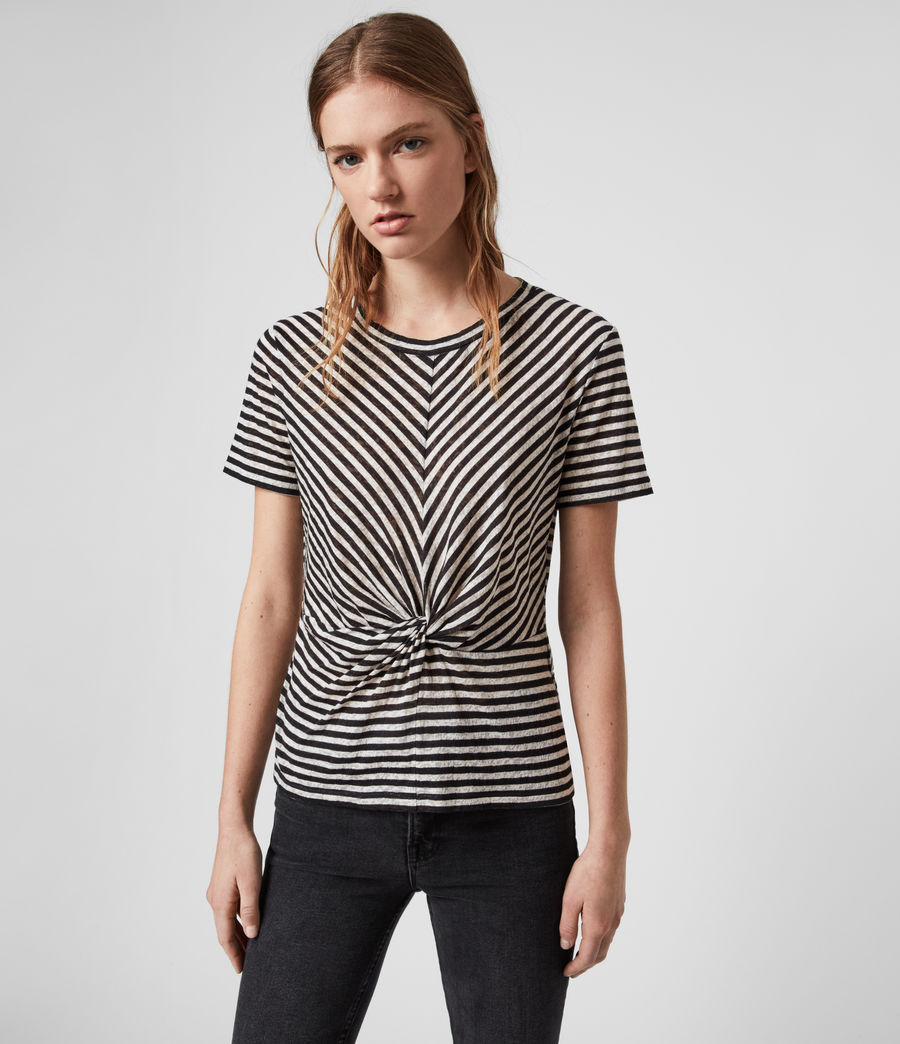 Womens Jess Stripe Short Sleeve T-Shirt (chalk_ink_blue) - Image 1