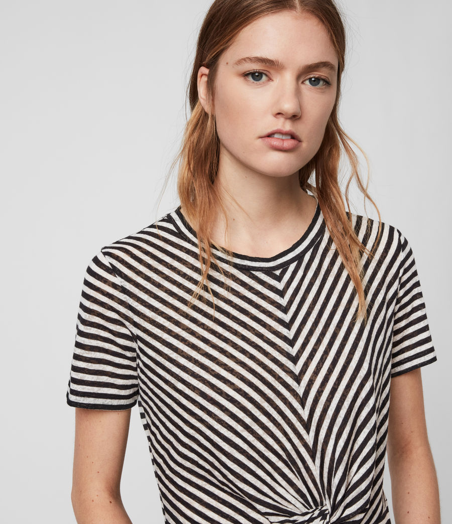 Womens Jess Stripe Short Sleeve T-Shirt (chalk_ink_blue) - Image 2