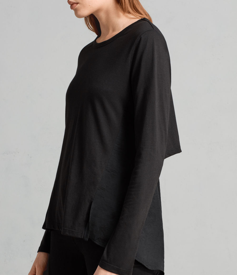 Womens Nadia Long Sleeve Tee (black) - Image 1