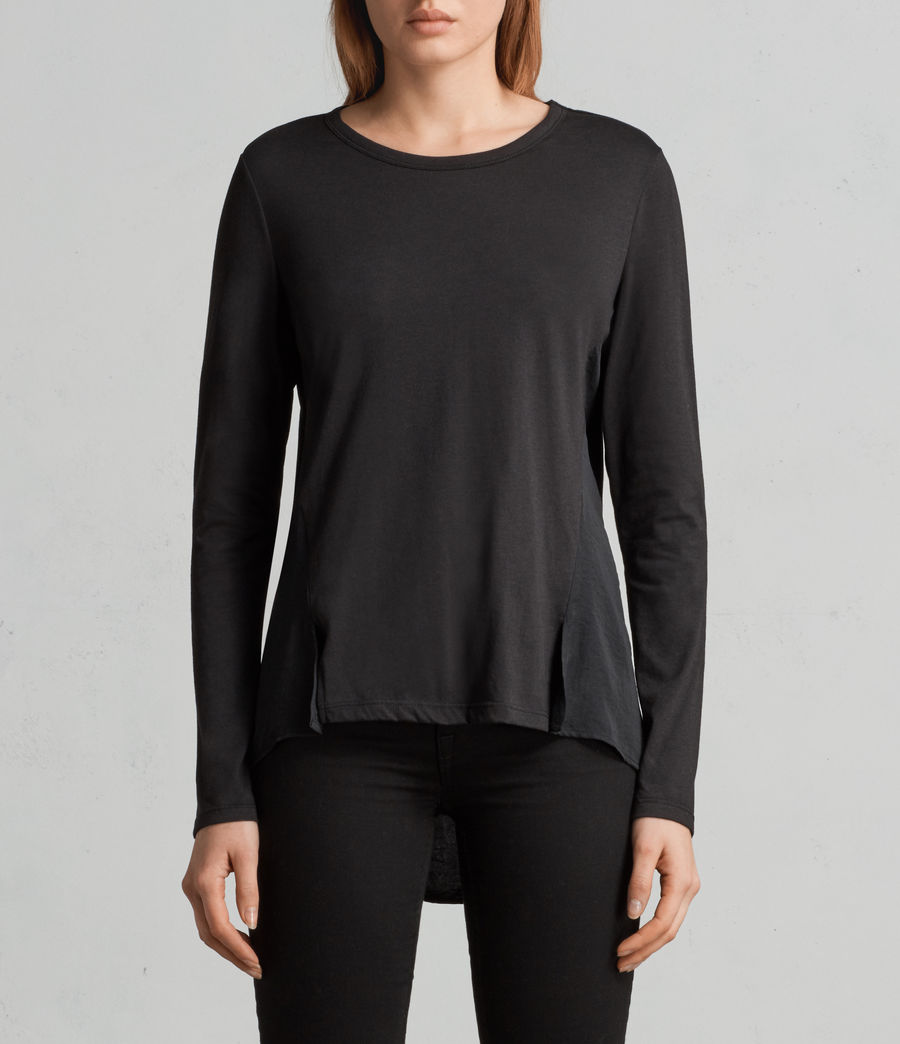 Womens Nadia Long Sleeve Tee (black) - Image 2