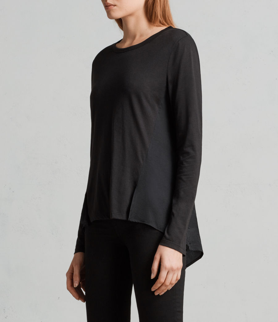 Womens Nadia Long Sleeve Tee (black) - Image 3