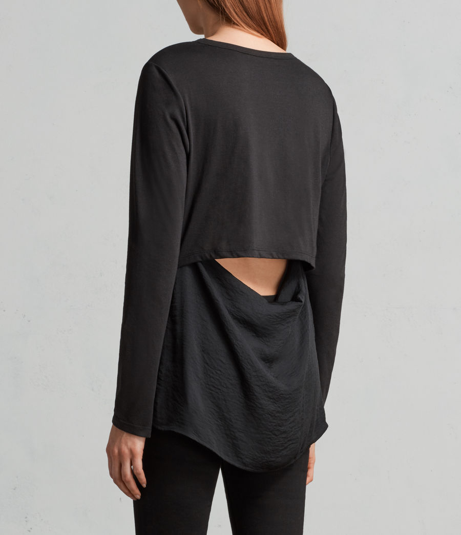 Womens Nadia Long Sleeve Tee (black) - Image 4
