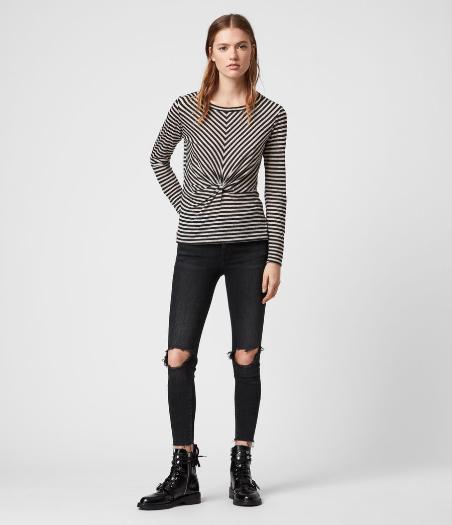 Womens Jess Stripe Long Sleeve T-Shirt (chalk_ink_blue) - Image 1