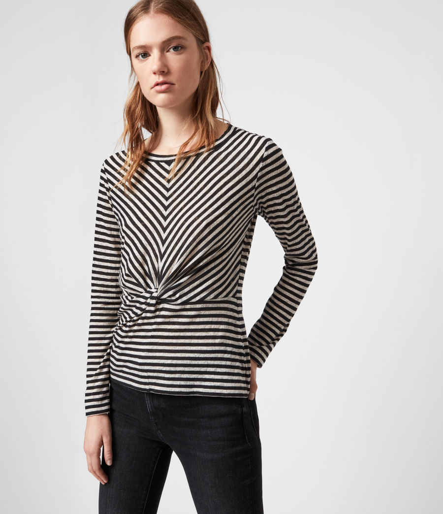 Womens Jess Stripe Long Sleeve T-Shirt (chalk_ink_blue) - Image 3