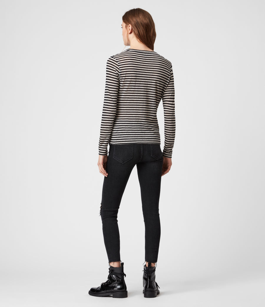 Womens Jess Stripe Long Sleeve T-Shirt (chalk_ink_blue) - Image 4